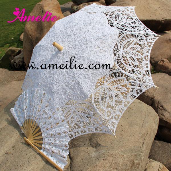 Battenburg dentelle Parasol et ensemble ventilateur de jeune mariée Umbrella Fan