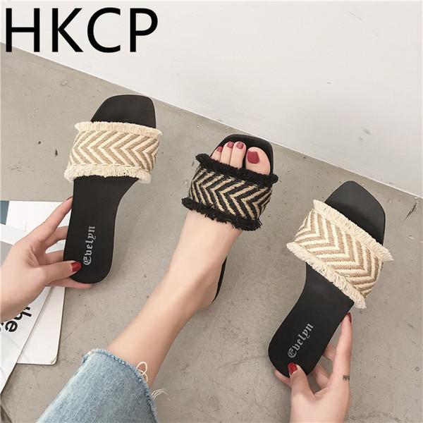 HKCP Terlik Kadın Yaz 2019 Yeni Renkli Düz tabanlı Plaj Ayakkabıları Dışında Tatil Basit Düz topuklu Kadın Ayakkabı C124