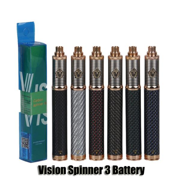 Vision Spinner 3 III Batteria in fibra di carbonio 1650mAh Voltage variabile VV 3.3-4.8V Batteria per 510 Ego E Cigarette Serbatoio atomizzatore