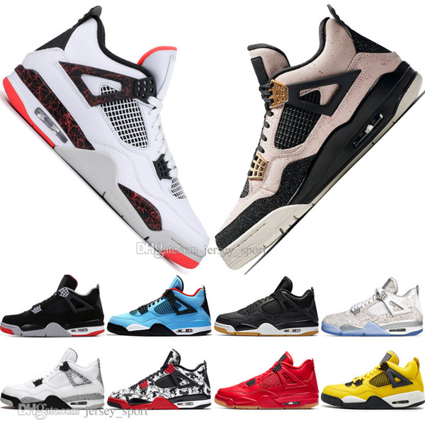 New 2019 Newest Bred 4 4s What The Cactus Jack Laser Wings Mens Basketball Shoes Denim Blue Pale Citron Men Sports Designer Sneakers 5.5-13
