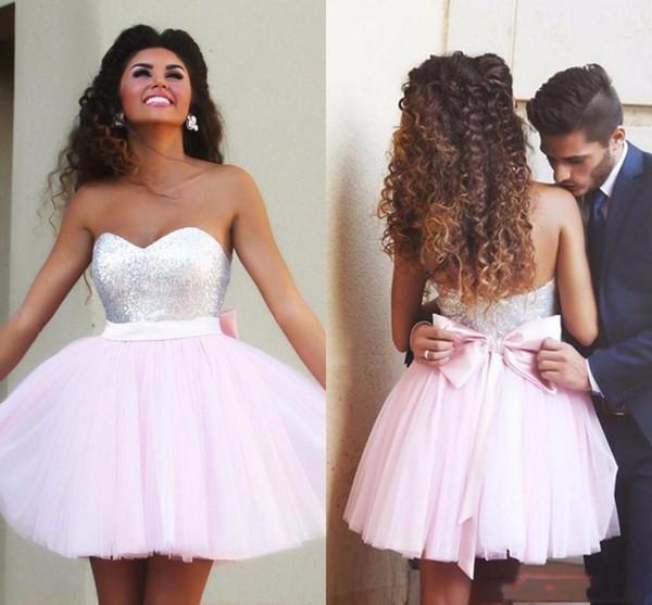 Скромное Розовое Короткое Homecoming платье с Милым тюлем Назад Bow Короткие мини-юбка коктейль платье