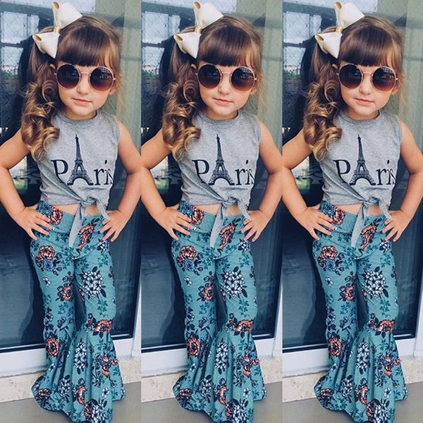 Fashion New Toddler Baby Girl Summer Clothes Eiffel Tower Vest Tops Floral Bell-bottom Flare Pant 2PCS Clothing Set
