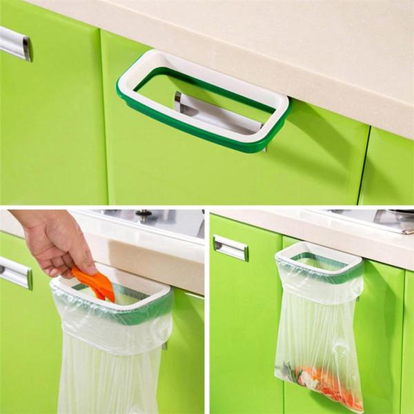 Plastic Hanging Kitchen Cabinet Door Trash Rack Plastic Board Stuck Garbage Bag Support Frame Holder Convenient Bags Shelf Sale