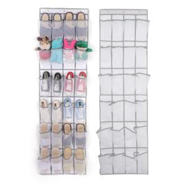 24 Grid Non-woven Shoe Bag Door Rack Shoe Storage Sundries Hanging Organizer Foldable Storage Bags 48*168cm SSA202