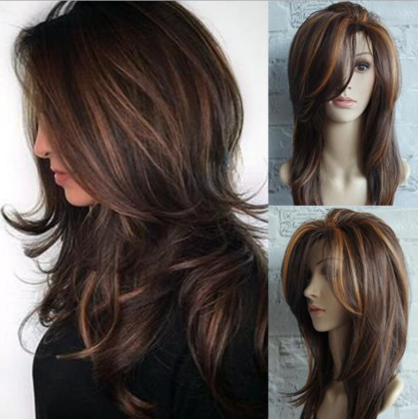 Bayanlar peruk altın kahverengi olayları Ombe altın kahverengi olayları vurgulamaktadır Omber uzun kıvırcık saç kabarık armut çiçek toka orta uzun düz saç FZP149