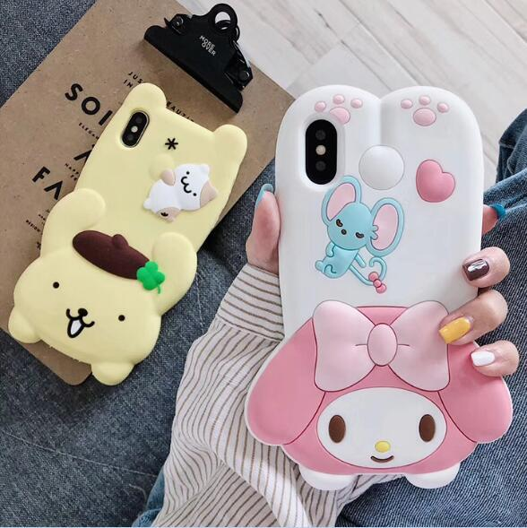 New 3D cartoon Melody Rainbow Horse panda soft silicone phone case for iphone X XR XS MAX 6S 7 8 plus dog cover coque