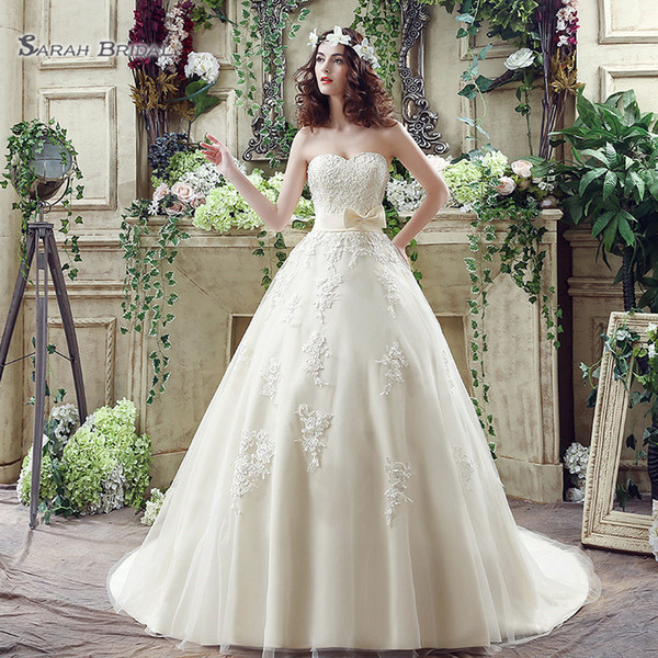 best selling 2020 Ball Gown Sleeveless Strapless Bow Sash Vintage Sweetheart Appliques Wedding Dresses Bridal Gowns SQS039 robes de mariée