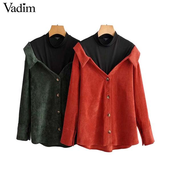 Vadim Frauen Cord Patchwork lose Bluse Langarm Stehkragen Hemd Vintage weibliche übergroße stilvolle Tops blusas LA866