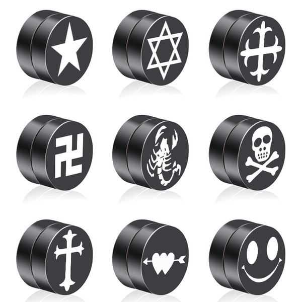 Unisex S925 Sterling Silver Plated Black Cross Patterns Magnet Stud Earrings