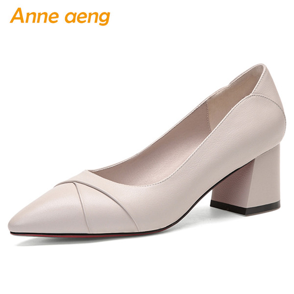2019 New Spring Genuine Leather Women Pumps High Square Heel Pointed Toe Shallow Sexy Ladies Women Shoes Beige Female High Heels