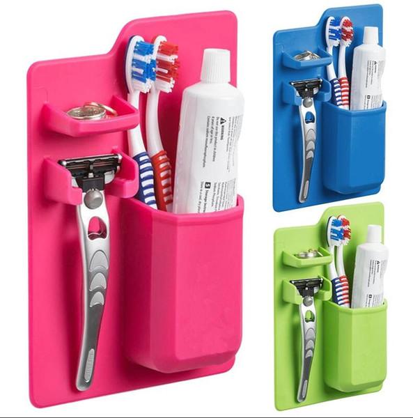 Cuarto de baño de silicona suave Organizador pasta de dientes cepillo de dientes titular caso de almacenamiento de baño Chupe en Pasta de dientes Espejo de afeitar Organizador Caja de almacenamiento