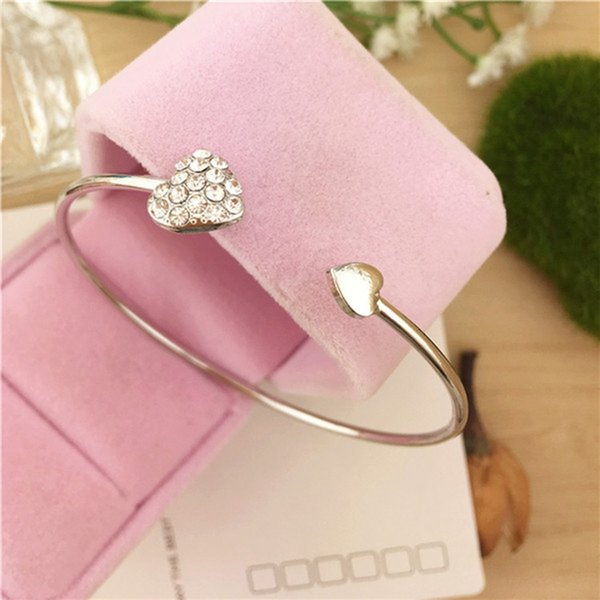 10pcs /lots Hot New Fashion Crystal Double Heart Cuff Opening Bracelet For Women Jewelry Gift Mujer Pulseras C-26