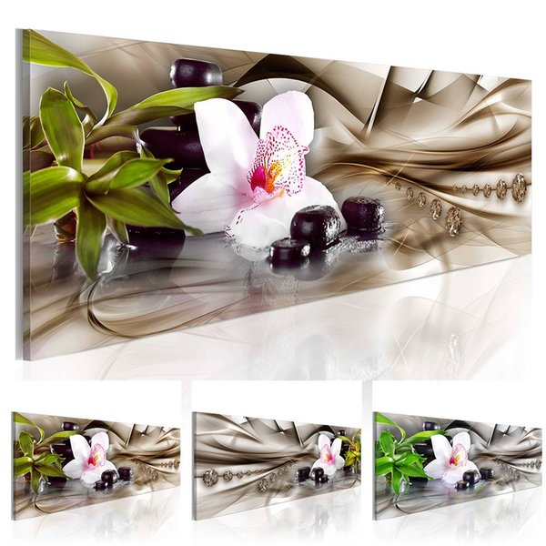 ( No Frame ) Orchid Zen Stone Bamboo Design Art Canvas Print Modern Fashion Floral Home Decoration, (Multicolor)