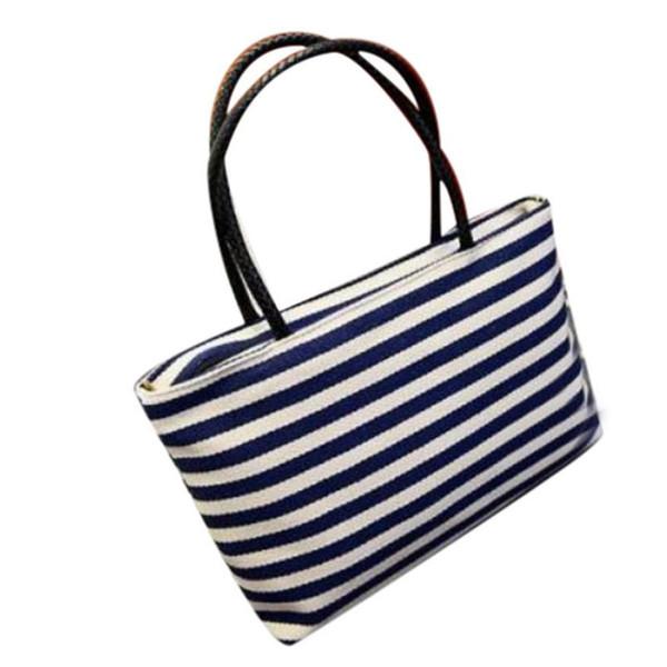 Cheap Fashion New Summer Canvas Shoulder Bags Striped Beach Bags Women Casual Shopping Handbag sac a main femme de marque @