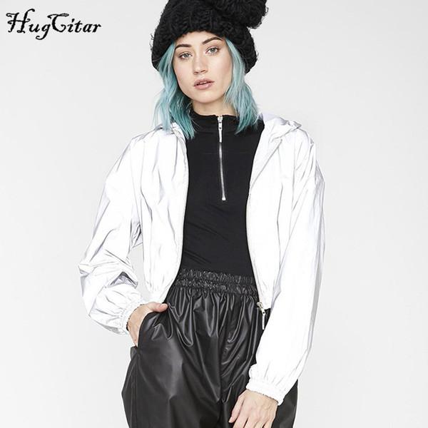 Hugcitar 2019 reflective long sleeve hooded zip-up sexy crop tops autumn winter women windbreak coat jacket