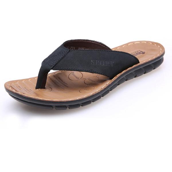Wearproof Men flip flops massage genuine leather men slippers summer cool cow leather slippers for male outdoor baboosh zy296