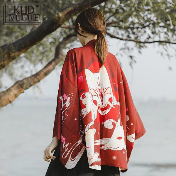 Японские кимоно традиционные юката 2019 новые женщины свободного покроя аниме печать рубашка одежда традиционные кимоно мужчины уличная одежда