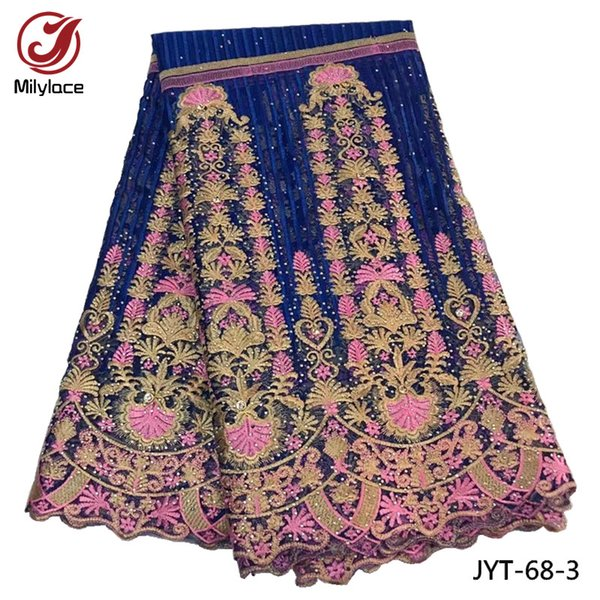 Good quality french lace fabric with stones African lace fabric latest tulle laces fabrics for 5 yards dress material JYT-68