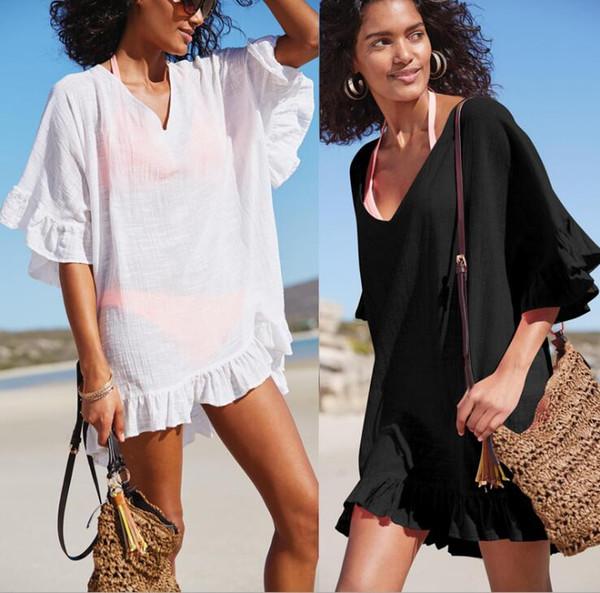 Sexy Biquíni Blusa Sólida Swimsuit para As Mulheres Com Decote Em V Solto Feminino Swimwear Verão Vestido de Praia Branco Preto Cor