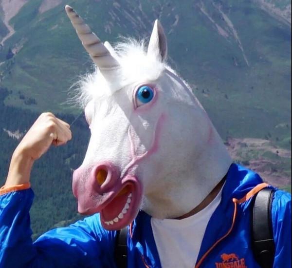 2019 Unicorn Horse Mask Halloween Creepy Party Deluxe Fiesta de disfraces Novedad Cosplay Prop Látex Creepy Head Mascarilla facial completa T8190617