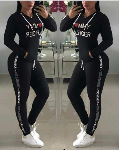 Letter Printed Tracksuit Women Hoodie Pants 2pcs/set Casual Sports Outdoor Long Sleeve Tops Jogger Clothing Set OOA6586