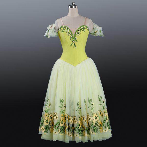 Fada Profissional Ballet Tutus Bordado Flor romântico vestido longo meninas Dança Trajes performance de palco Dancewear Mulheres