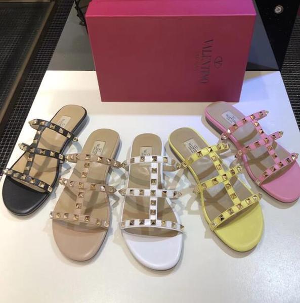 G3015 Ücretsiz kargo yeni stil Yaz kadın sandalet ve terlik kadın perçinler Üç kemerler Moda terlik giymek 34-41