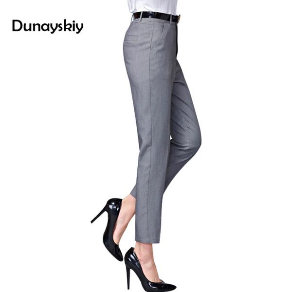 Office Lady Pants Women 2019 New Spring Ol Pantalon Femme Casual Pants Elastic High Waist Slim Work Wear Trousers Botttoms C19040401