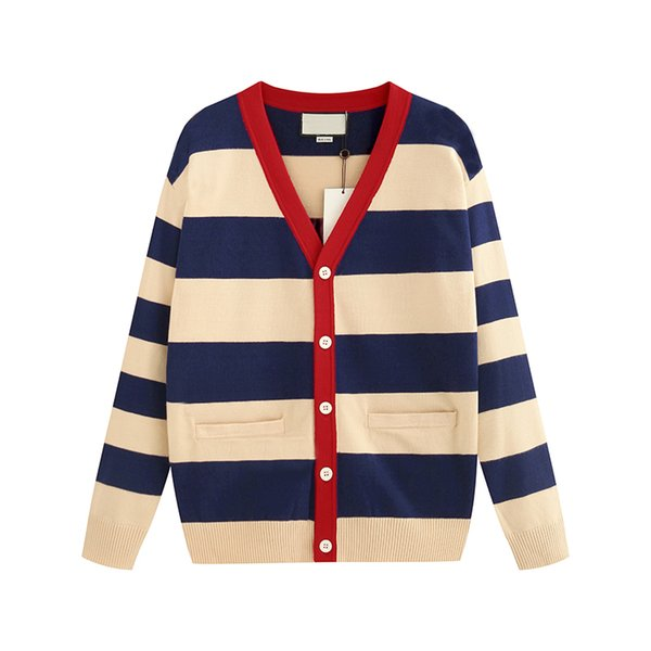 Designer Women Cardigan Sweater Luxury 2019 Nuevo otoño e invierno Luxury New Lady Cardigan Stripe Suéter contraído Talla de S a 2XL