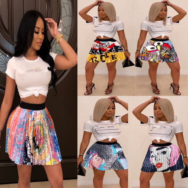 2019 Women New Summer Vintage Cartoon Letter Print High Waist Above Knee Mini Pleated Skirts Retro Fashion Skirt Outfit Z022 MX190731