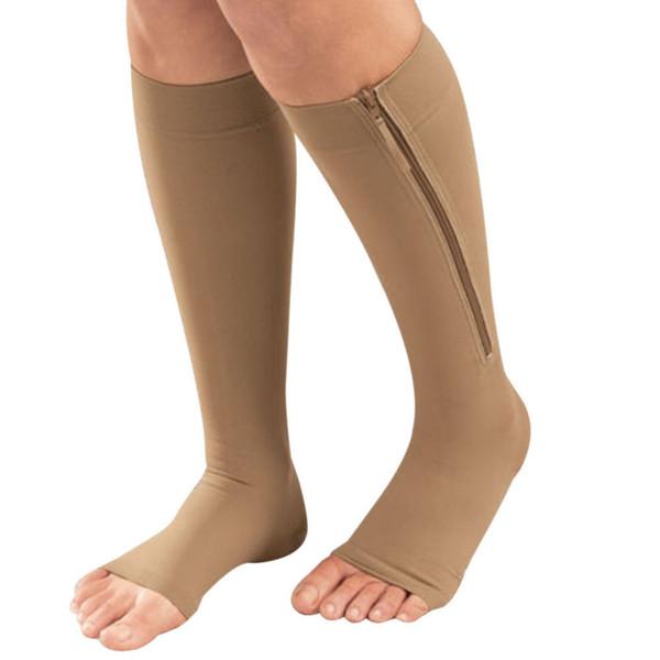 Frauen Zipper Compression Socks Komfortable Zip Bein Unterstützung Knie Sox Open Toe Socke S / M / XL