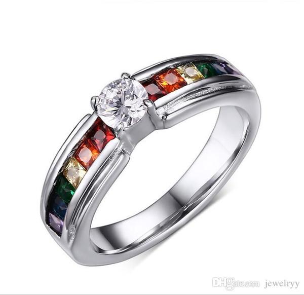 Estilo europeu Arco-íris Les Cristal Anéis De Prata Mulheres Jóias De Casamento CZ Diamante Banda Anel de Noivado de Aço Titânio Anéis