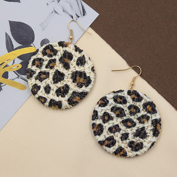 STRATHSPEY Handmade Leopard Earrings for Women Bohemian Round Rattan Earring Natural Big Earing Summer Jewelry Boucle D'oreille