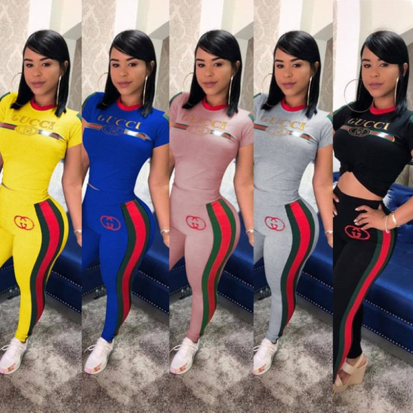 top popular womens designer tracksuit short sleeve outfits shirt pants 2 piece set sportswear hoodie leggings sport set shirt trousers sport suit klw969 2019