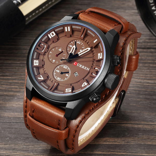 Curren Mens Watches Top Brand Luxury Leather Analog Quartz Men Watch Military Sport Male Waterproof Wristwatch Relogio Masculino Y19052201