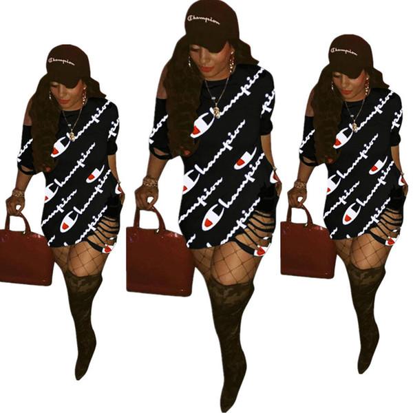 Livraison gratuite champion Femmes Robes Robe D'été Mini Robe De Soirée Imprimer À Manches Courtes Casual Dress Femme Vêtements s-3xl