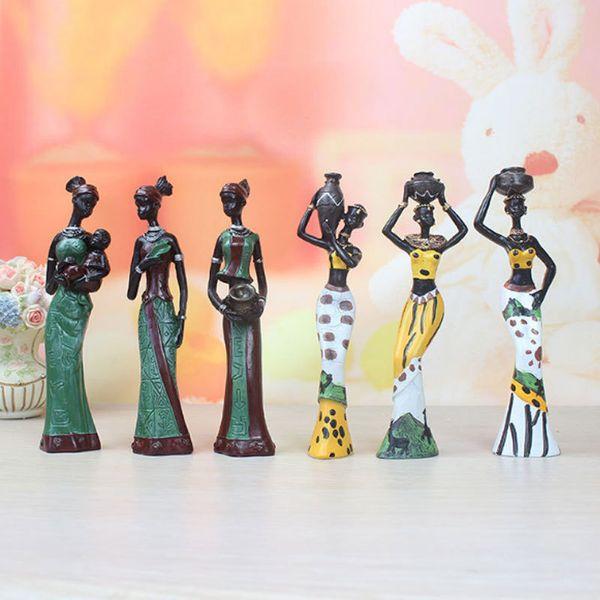 3 teile / satz Afrikanische Puppen Harz Exotische Dame Figuren Einrichtung Handwerk Geschenke Wohnzimmer Kunst Home Office Dekoration Zubehör T190709