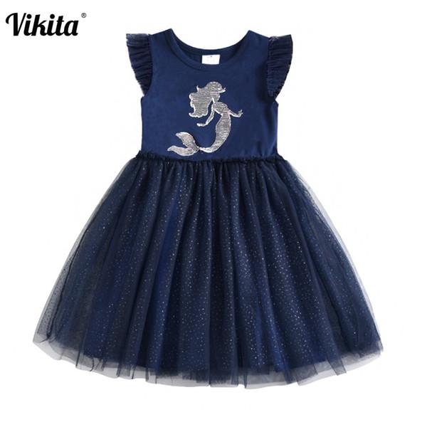VIKITA Kids Girls Dress Summer Children Princess Tutu Dress Girls Unicorn Heart Design Sequins Patchwork Cotton Licorne Dresses