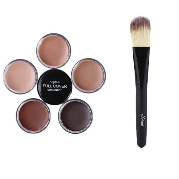 POPFEEL Best Face Concealer Cream 1pc Makeup Base Foundation Nude Face Liquid Cover Freckle Pores Oil Control Natural Making Up Powder Brush