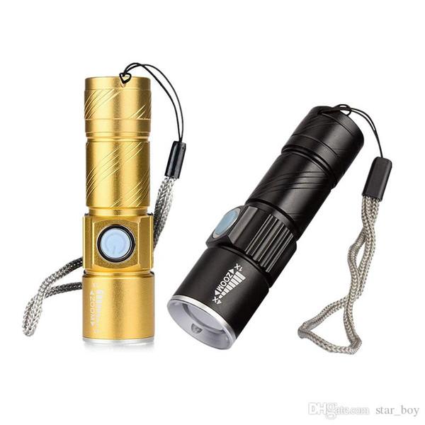Mini USB LED Linterna Antorcha Luz de camping al aire libre Recargable Impermeable Lámpara con zoom 3 Modo Práctico Luz de flash