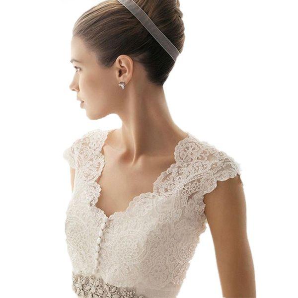 Elegant White Suite Sleeveless v-neck shrugging Wedding bolero jacket Lace Jacket Wedding Shawl Accessories Topper