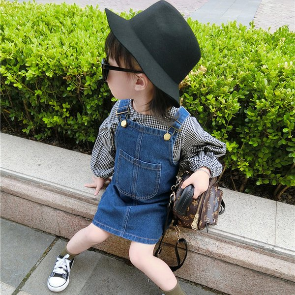 Girls summer jean strap dresses kids denim blue all match princess dress baby casual spring clothes children outfit 2-7 Years