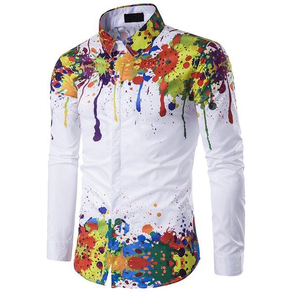 New Arrival Men Imprimir Magro shirt do teste padrão Branca Moda manga comprida Camisa de pulverização Casual pintura colorida decote Primavera Outono Shirts M-3XL