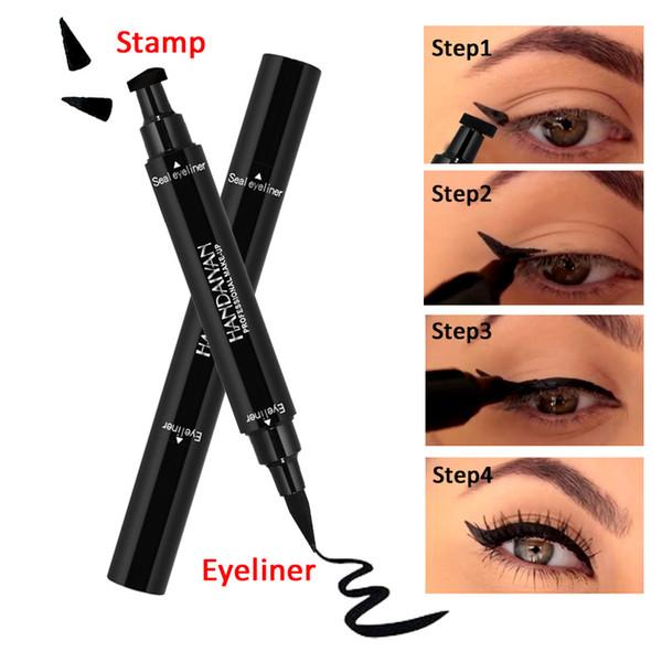 HANDAIYAN Double-End Dreieck Stempel Eyeliner 2-in-1 wasserdicht schwarz Make-up Stempel Eyeliner Pencil