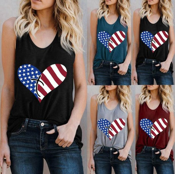 top popular America Flag Printed Tanks 5 Colors Heart Striped Summer Sleeveless Top Tees Printed Blouses Vest clothing OA6922 2020