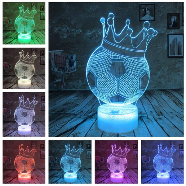Football An Crown Smart Change Led Night Light Boys Students Room