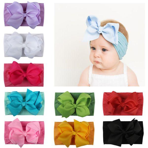 Accesorios para el cabello del bebé caliente Cinta de nylon para niños súper suaves para bebés con pajarita niños bandas de pelo de princesa linda bandas de color puro