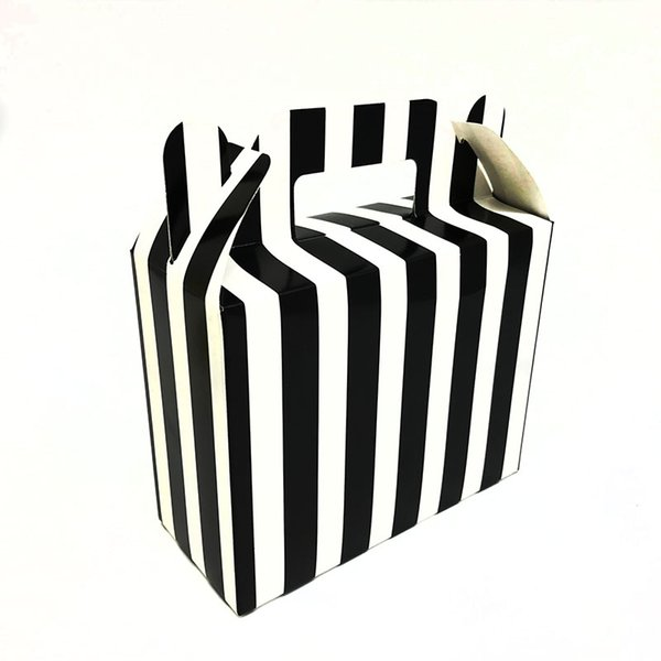 12 unids / pack Rayas negras tema cajas de dulces cajas de regalos baby shower fiesta de cumpleaños decoraciones rayas negras caja de dulces