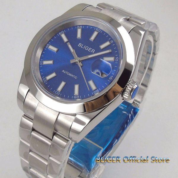 Solid 40mm blue dial date magnifier luminous saphire glass polished bezel MIYOTA 8215 Automatic movement men's watch men