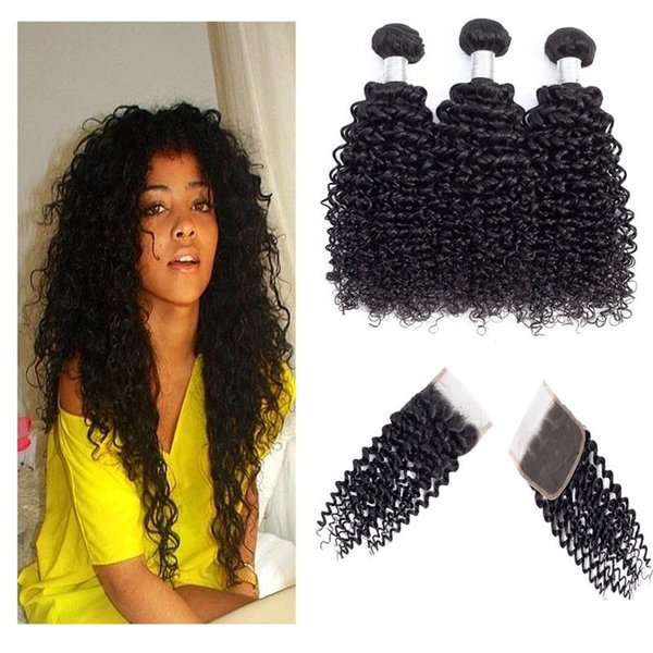 Curly Wave Human Hair Bundles with 4x4 Free Part Hair Closure Brazilian Indian Malaysian Virgin Hair Weaves Black Color 8-28inch